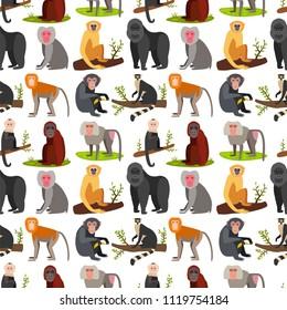 Monkey character animal breads seamless pattern background wild zoo ape chimpanzee vector illustration.