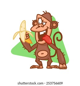 Monkey character holds banana and smiling