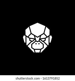 monkey chimp face head robot cyborg logo vector icon illustration