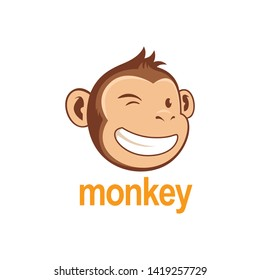 Monkey Chimp Logo and white background