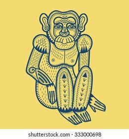 monkey chimpanzee,primate totems animal  folk style retro design macaque