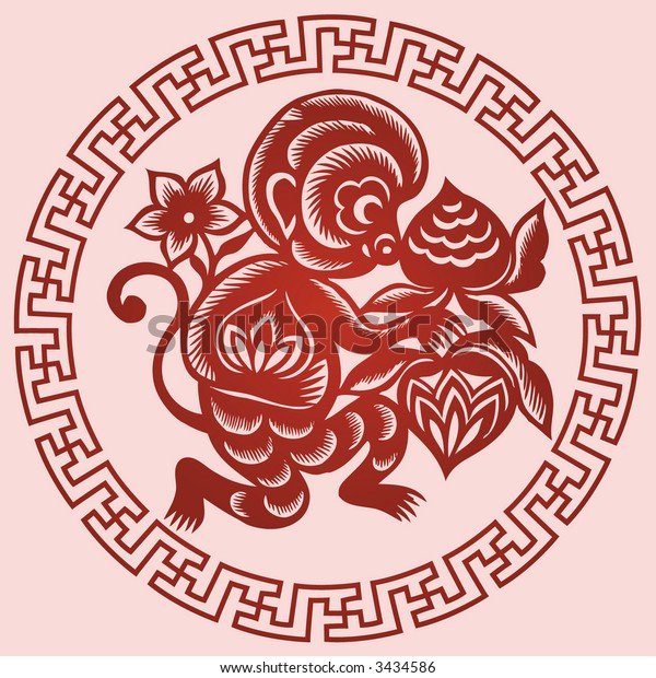 MONKEY Chinese Zodiac Sign in paper cutting style (Vector)