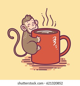 monkey clinging to coffee cup