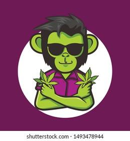 monkey cool with marijuana leaf for logo icon design