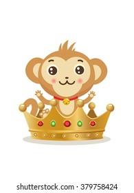 Monkey In The Crown. Cute Vector Monkey. Animal Vector. Rich Monkey Logo. Abundant Monkey King. Plentiful Monkey.