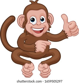 A monkey cute happy cartoon character animal giving a thumbs up and pointing