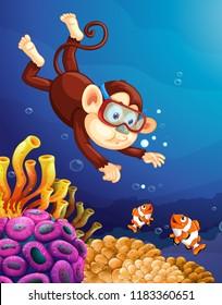 Monkey diving under ocean illustration