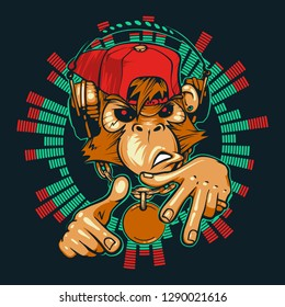 Monkey DJ. Monkey rapper. Chimpanzees with headphones