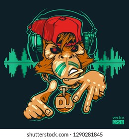 Monkey DJ. Monkey rapper. Hand drawn vector illustration. Can be used for creating logo, posters, flyers, emblem, prints, web