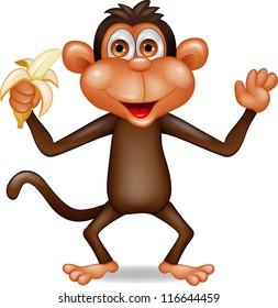 Monkey eating banana