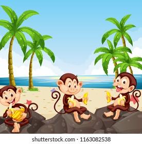 Monkey eating banana at the beach illustration