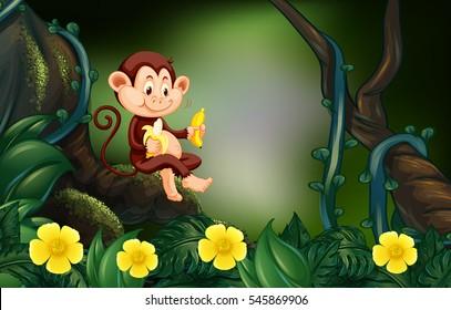 Monkey eating banana in forest illustration