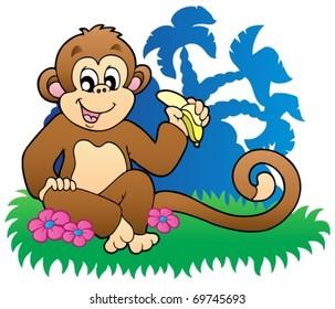 Monkey eating banana near palms - vector illustration.