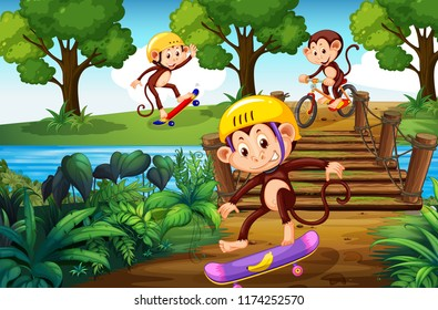Monkey and extreme sport in the park illustration