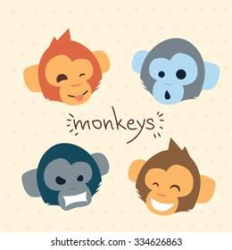 Monkey Face Cartoon Head Set Emotion Collection Flat Vector Illustration
