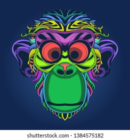monkey face colorful in pop style