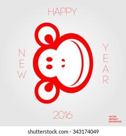 Monkey face icon. Monkey symbol 2016. Cheerful monkey.  Happy New Year. 2016 year