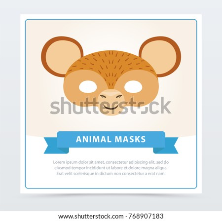 monkey face mask cute ears jungle stock vector royalty free