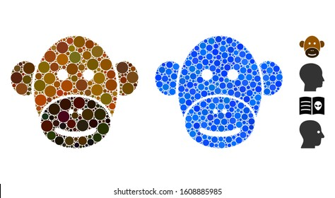 Monkey face mosaic of spheric dots in various sizes and color tinges, based on monkey face icon. Vector round elements are grouped into blue mosaic. Dotted monkey face icon in usual and blue versions.