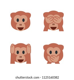Monkey Face, See-No-Evil Monkey, Hear-No-Evil Monkey, Speak-No-Evil Monkey. Vector illustration smiley emojis, emoticons symbols, icons, faces set, collection.