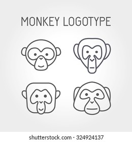 Monkey faces, logo and icon. Line art. Monkey head and ape for avatar, portrait, profile, print. Ape icons, vector illustration.