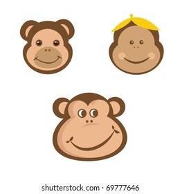 Monkey faces set