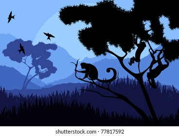 Monkey family in wild nature landscape illustration