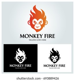 Monkey fire logo design template. Vector illustration