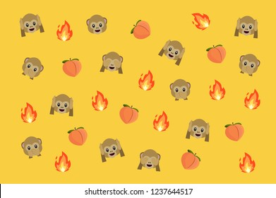 Monkey, fire and peach emoji vector pattern