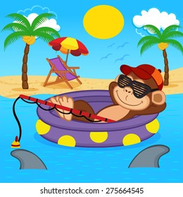 monkey fishing on sea - vector illustration, eps