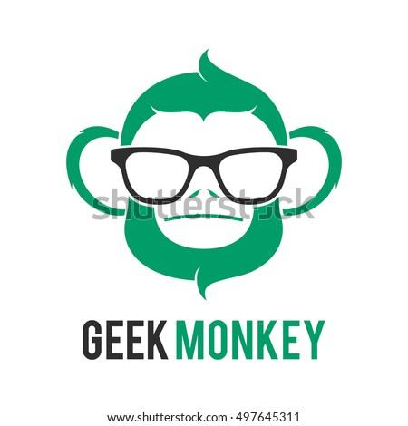 monkey geek logo icon symbol template stock vector royalty free