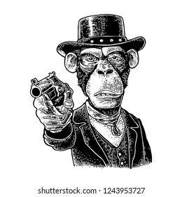 Monkey gentleman holding a revolver and dressed in a hat, suit, waistcoat. Vintage black engraving illustration for poster. Isolated on white background. Hand drawn design element for label and poster