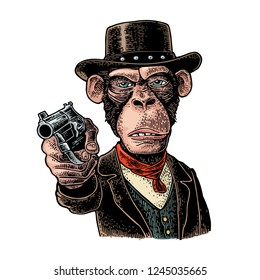 Monkey gentleman holding a revolver and dressed in a hat, suit, waistcoat. Vintage color engraving illustration. Hand drawn design element for t-shirt and poster isolated on white background