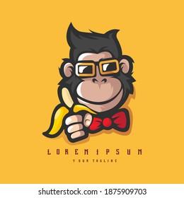 Monkey with glasses and banana, Monkeys logo in sport style, mascot logo illustration design vector