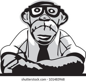 Monkey with glasses in business suit