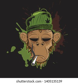 Monkey with green hat smoke