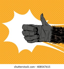 Monkey hand shows like sign, hand drawn vector illustration. Comics style