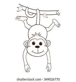The Monkey Hanging On Green Vines Using Outline Or Line Art