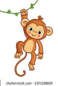 Monkey hanging on liana. Vector illustration in cartoon style. Cute animal.