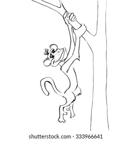monkey, monkey hanging on a tree, the symbol of 2016, cartoon, vector