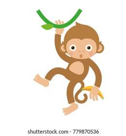monkey hanging and swinging flat vector cartoon