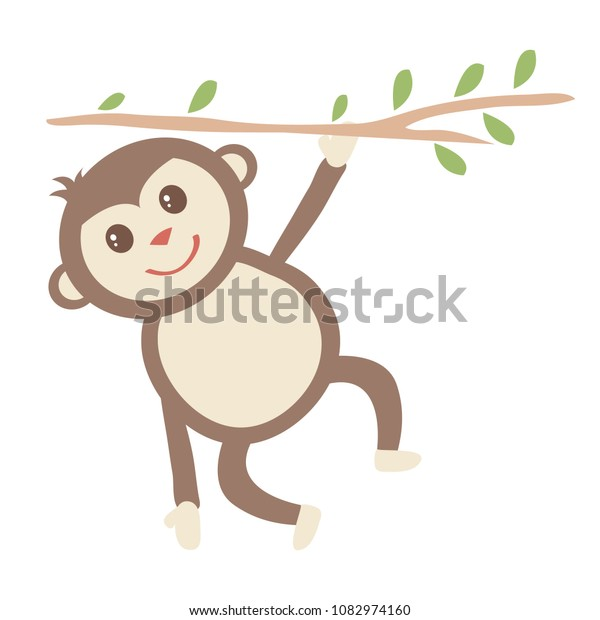 Monkey Hanging from Tree Branch