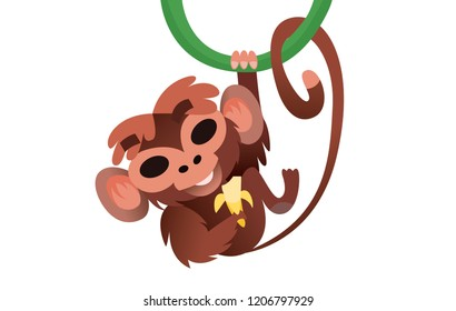 Monkey hangs on a tree and eats a banana. An isolated animal in a zoo. Vector illustration