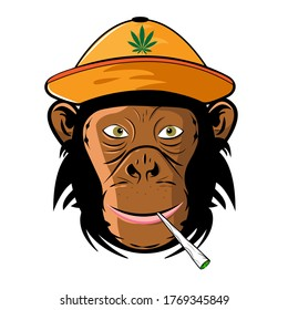 Сool monkey in hat with cannabis leaf and joint in mouth. Monkey with joint. Monkey with joint. Smoking monkey. Vector. White background.