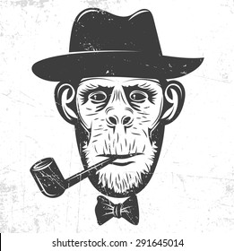 Monkey in a hat Smoking a pipe