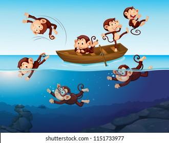 Monkey having fun in the sea illustration