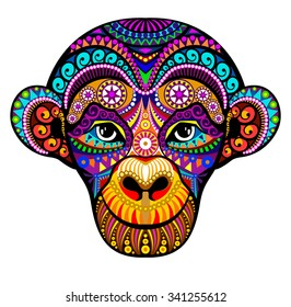 Monkey Head. 2016. Tribal colorful design.  It may be used for t-shirt,  greeting card, a poster.