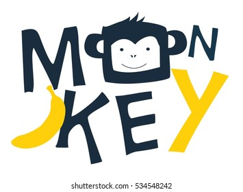 monkey head drawing for baby tee print.Vector illustration kid's or baby's shirt
