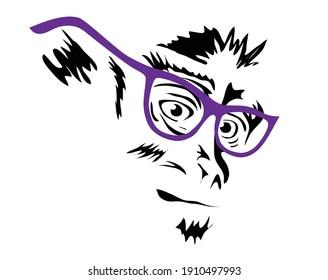 Tête de singe avec lunettes, illustration vectorielle