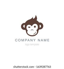 Monkey head logo template. Vector.